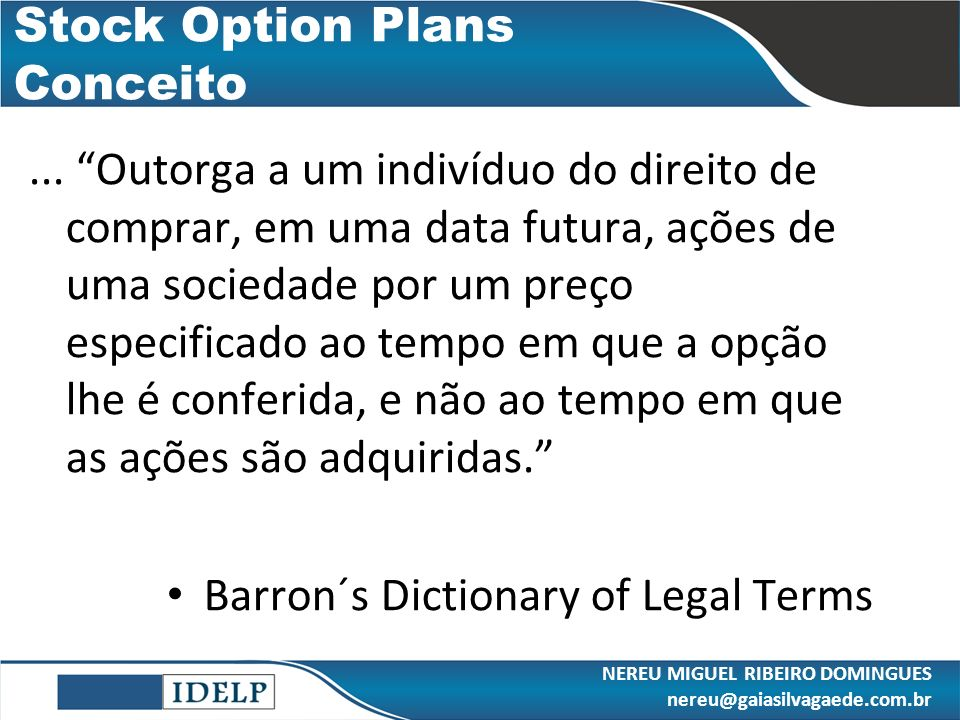 Stock Option Plans Conceito
