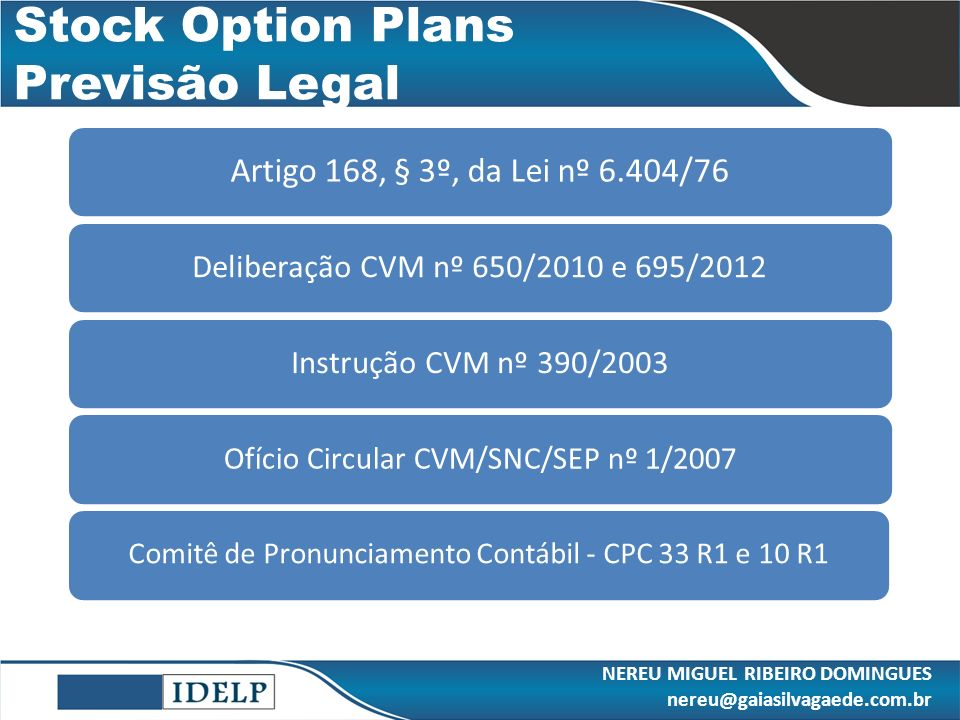 Stock Option Plans Previsão Legal