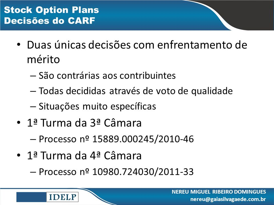 Stock Option Plans Decisões do CARF