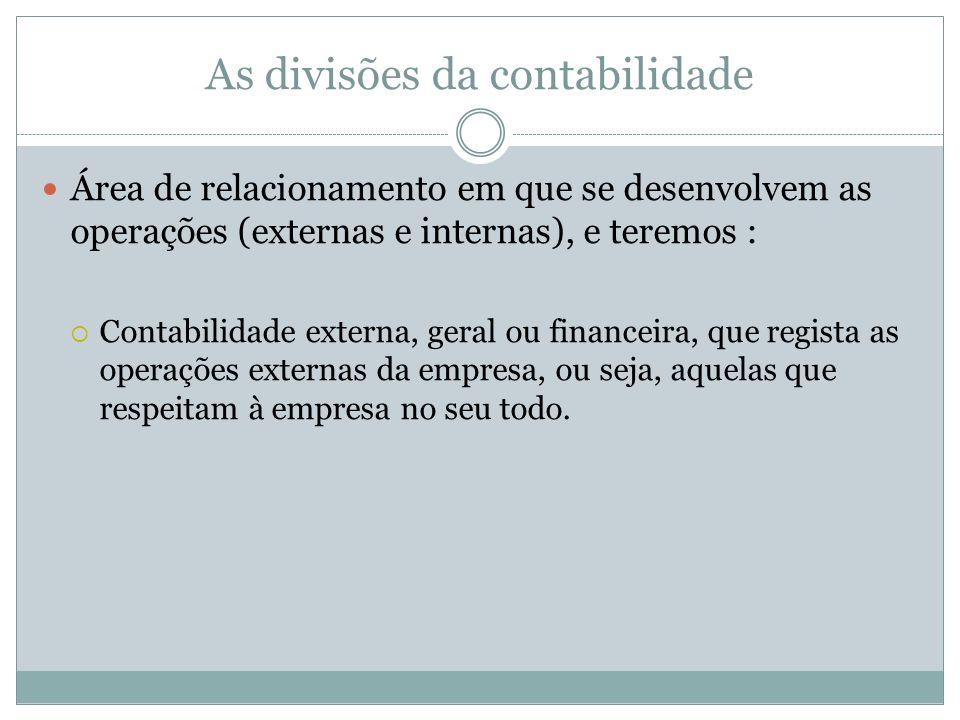 As divisões da contabilidade