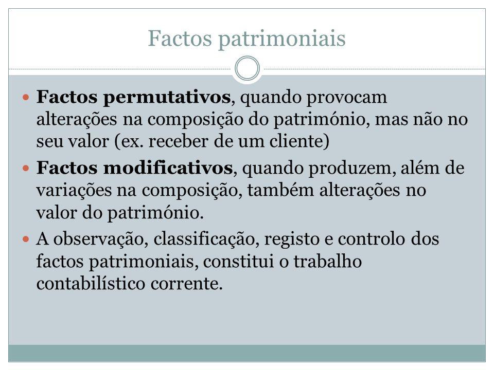 Factos patrimoniais Factos permutativos, quando provocam alterações na composição do património, mas não no seu valor (ex. receber de um cliente)