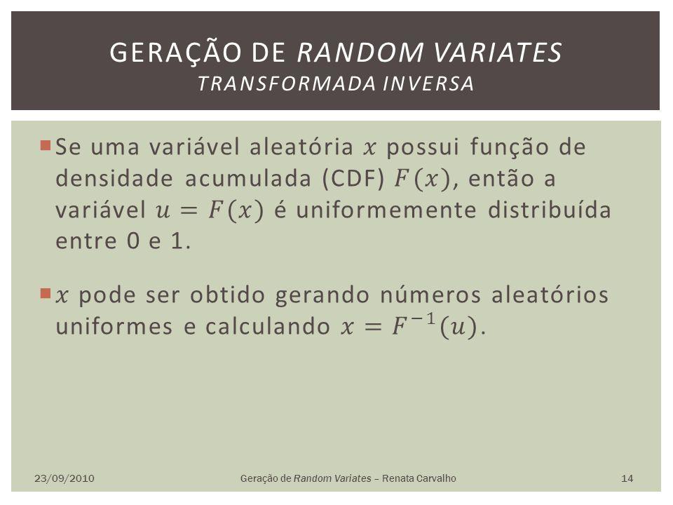 Geração de random variates transformada inversa