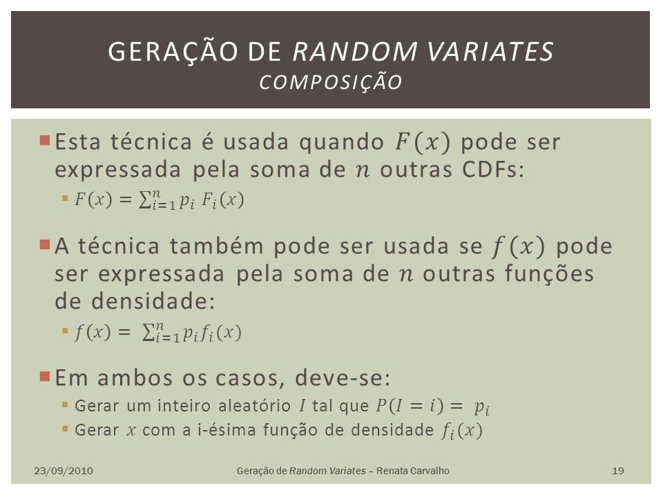 Geração de random variates Composição