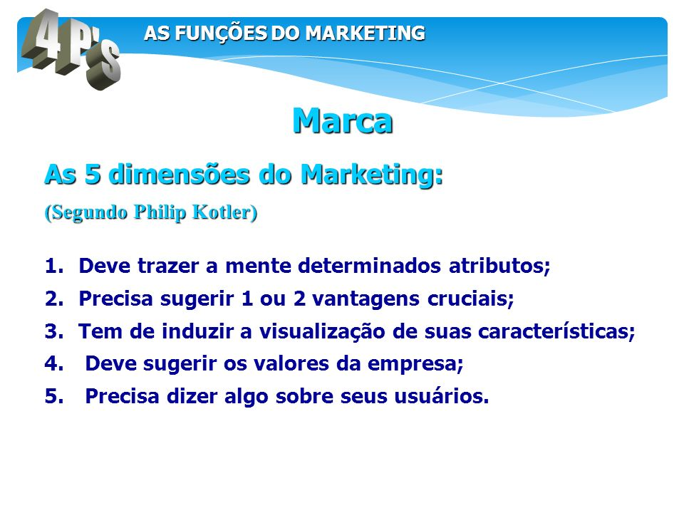 4 P s Marca As 5 dimensões do Marketing: (Segundo Philip Kotler)