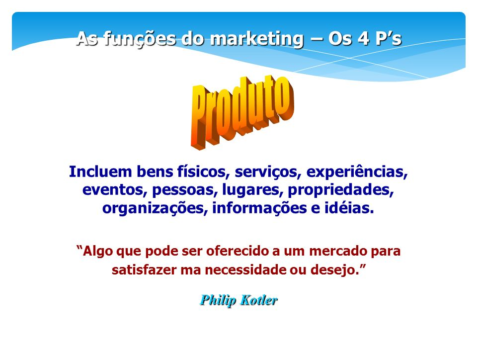 Produto As funções do marketing – Os 4 P's