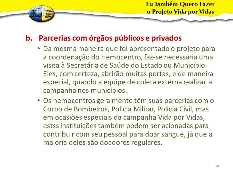 Parcerias com órgãos públicos e privados