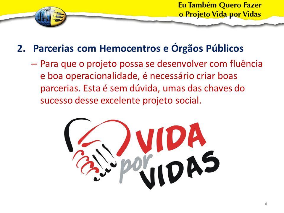 Parcerias com Hemocentros e Órgãos Públicos