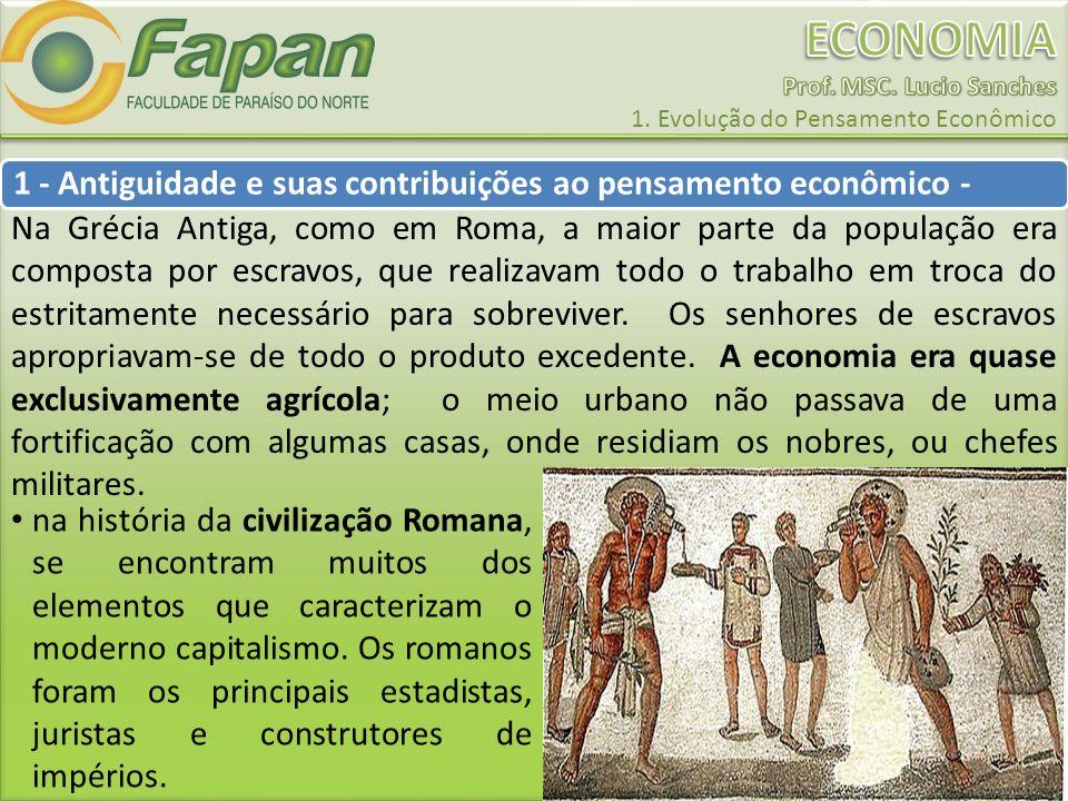 1 - Antiguidade e suas contribuições ao pensamento econômico -