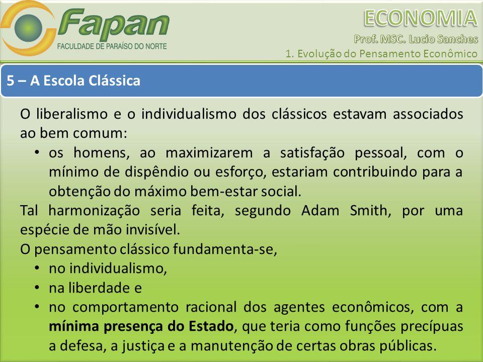 5 – A Escola Clássica O liberalismo e o individualismo dos clássicos estavam associados ao bem comum: