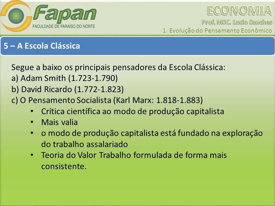 5 – A Escola Clássica Segue a baixo os principais pensadores da Escola Clássica: a) Adam Smith (1.723-1.790)