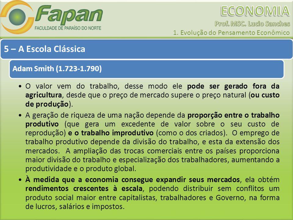 5 – A Escola Clássica Adam Smith (1.723-1.790)