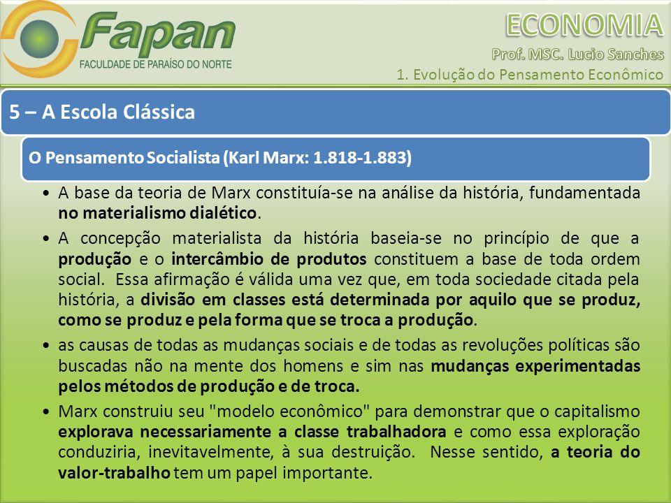 5 – A Escola Clássica O Pensamento Socialista (Karl Marx: 1.818-1.883)