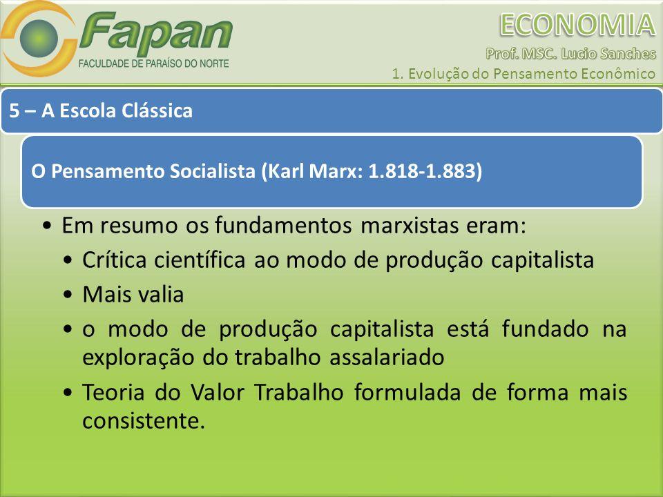 Em resumo os fundamentos marxistas eram:
