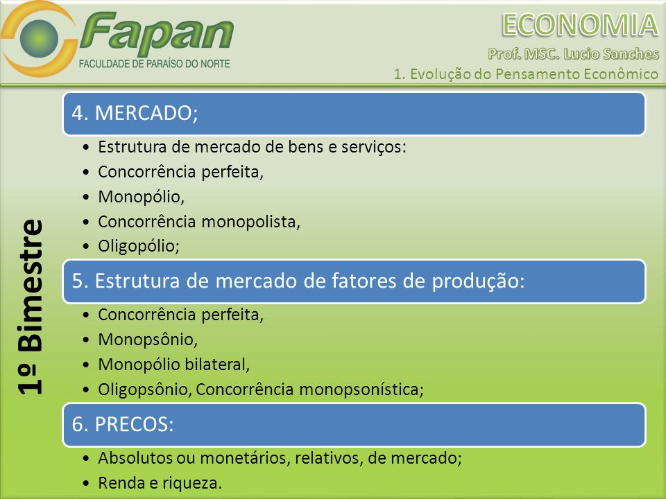 1º Bimestre 4. MERCADO; Estrutura de mercado de bens e serviços: