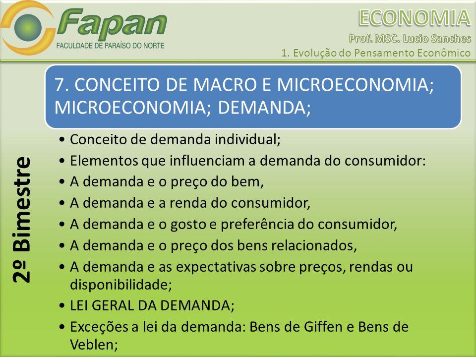 7. CONCEITO DE MACRO E MICROECONOMIA; MICROECONOMIA; DEMANDA;