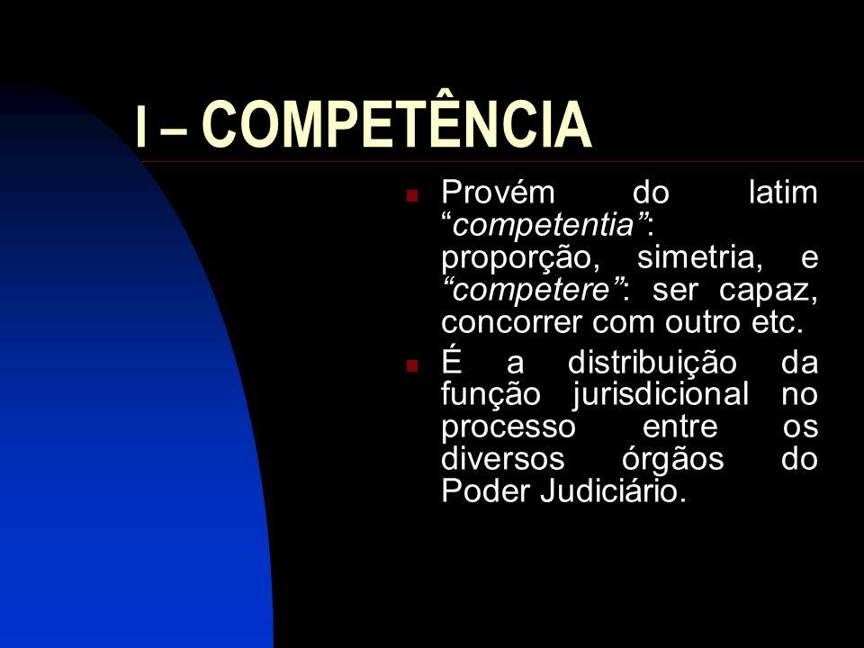 I – COMPETÊNCIA Provém do latim competentia : proporção, simetria, e competere : ser capaz, concorrer com outro etc.
