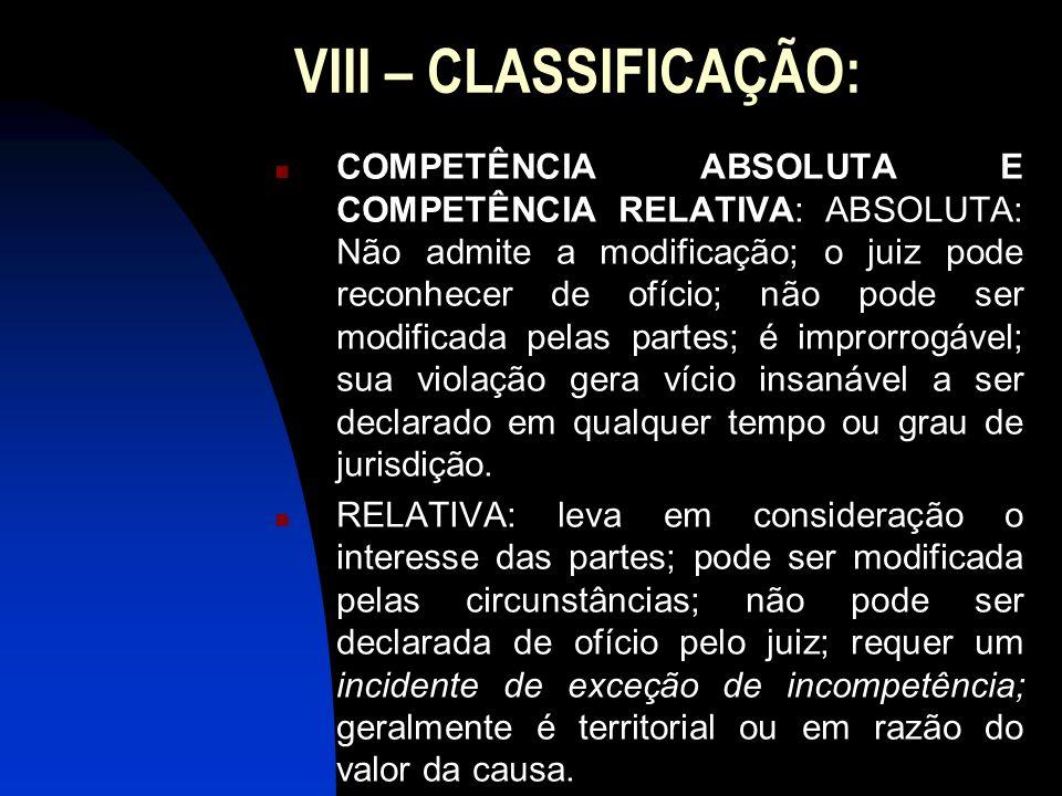 VIII – CLASSIFICAÇÃO: