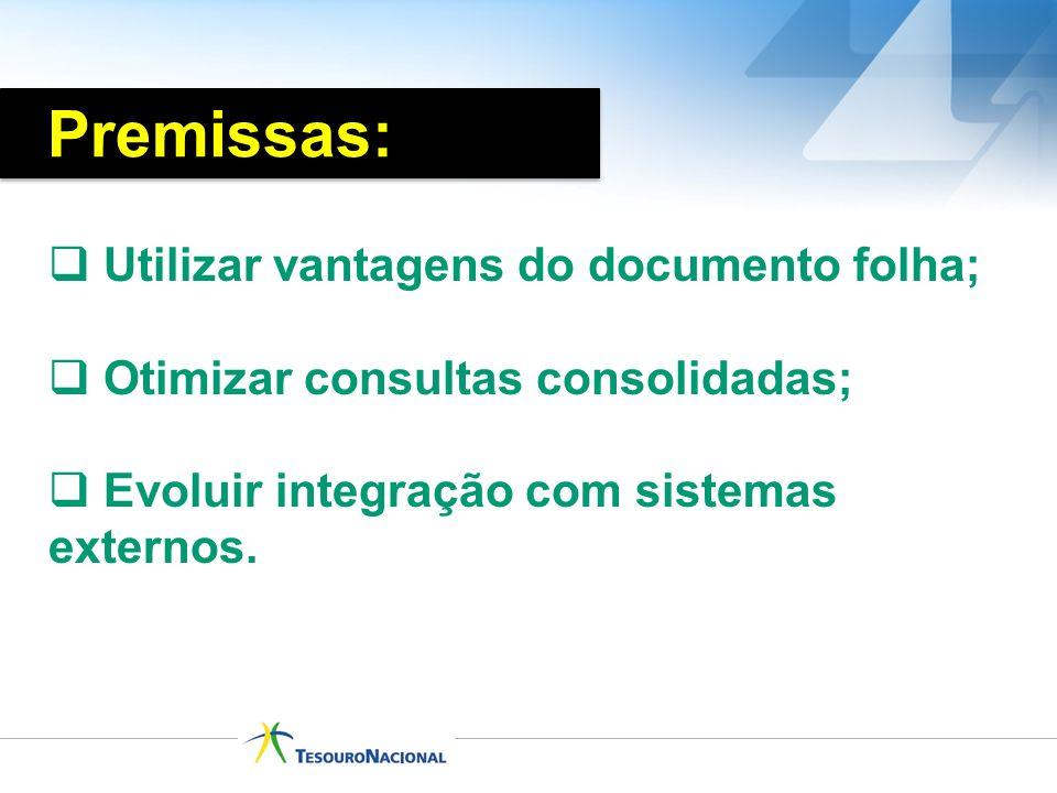 Premissas: Utilizar vantagens do documento folha;