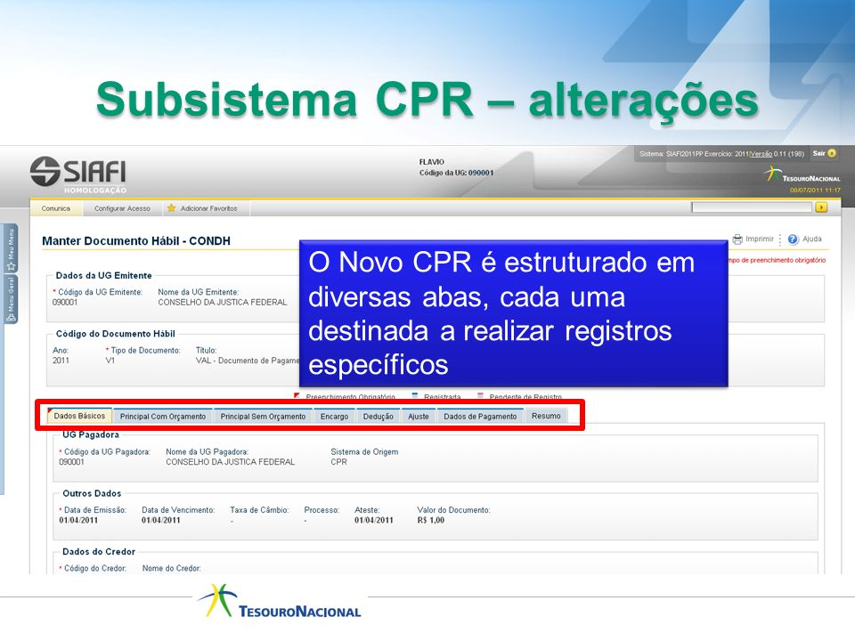 Subsistema CPR – alterações