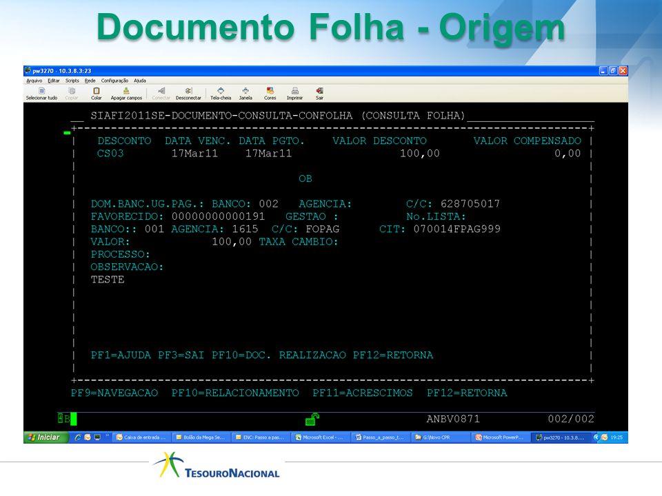Documento Folha - Origem