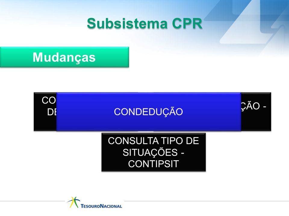 Subsistema CPR Mudanças CONSULTA GRUPO DE SITUAÇÕES - CONGRUSIT