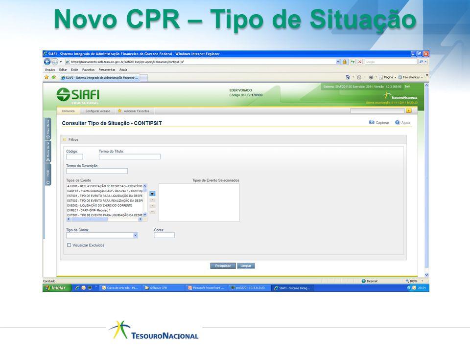 Novo CPR – Tipo de Situação