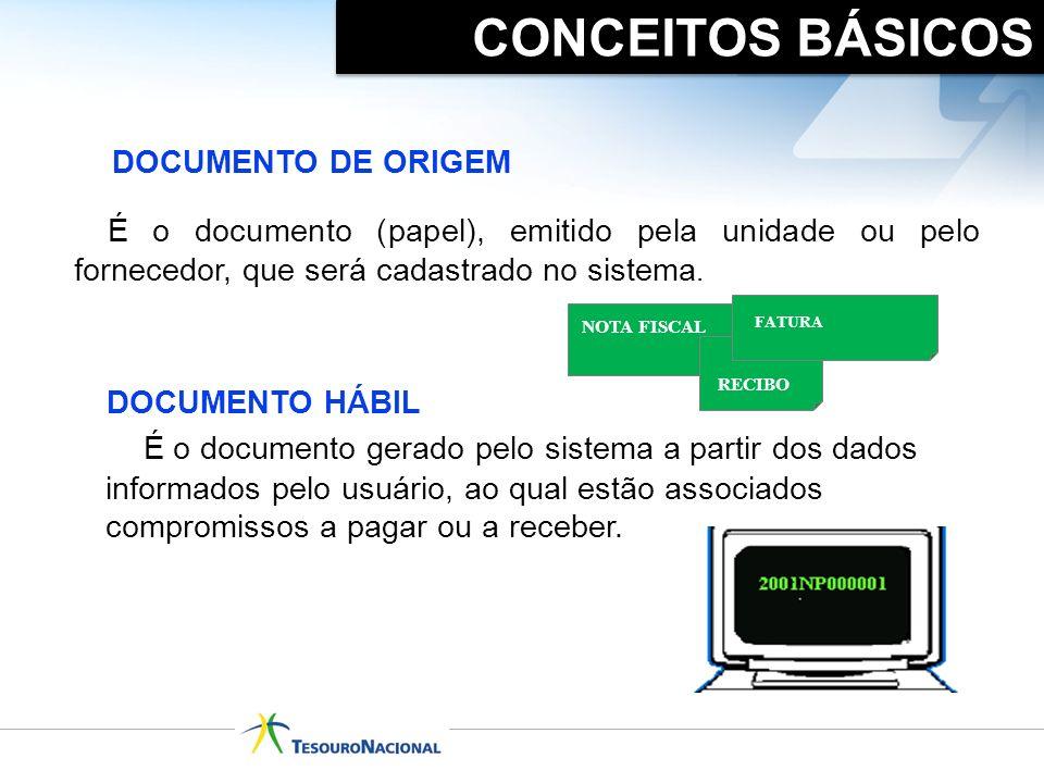 CONCEITOS BÁSICOS DOCUMENTO DE ORIGEM. É o documento (papel), emitido pela unidade ou pelo fornecedor, que será cadastrado no sistema.