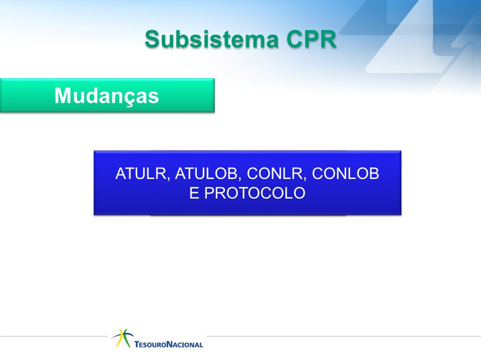 Subsistema CPR Mudanças ATULR, ATULOB, CONLR, CONLOB E PROTOCOLO