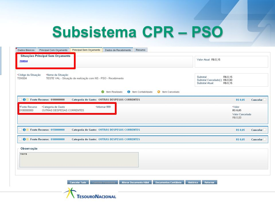 Subsistema CPR – PSO