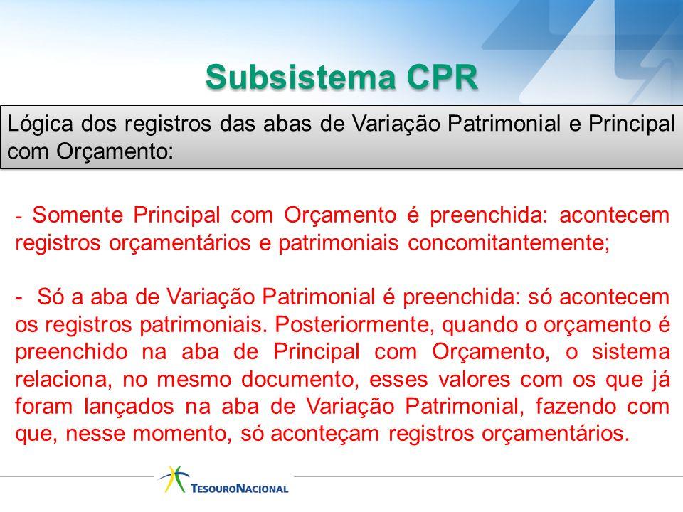 Subsistema CPR Lógica dos registros das abas de Variação Patrimonial e Principal com Orçamento:
