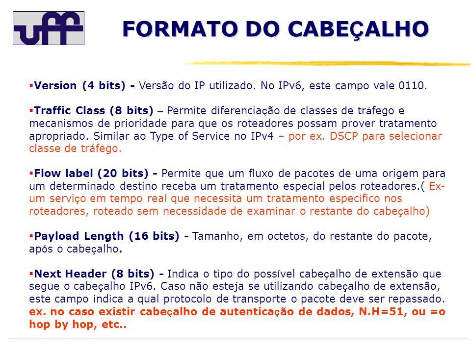 FORMATO DO CABEÇALHO Version (4 bits) - Versão do IP utilizado. No IPv6, este campo vale 0110.