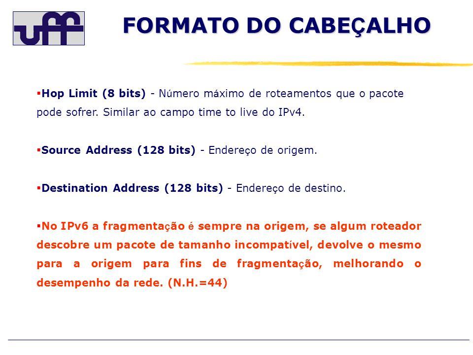 FORMATO DO CABEÇALHO Hop Limit (8 bits) - Número máximo de roteamentos que o pacote pode sofrer. Similar ao campo time to live do IPv4.