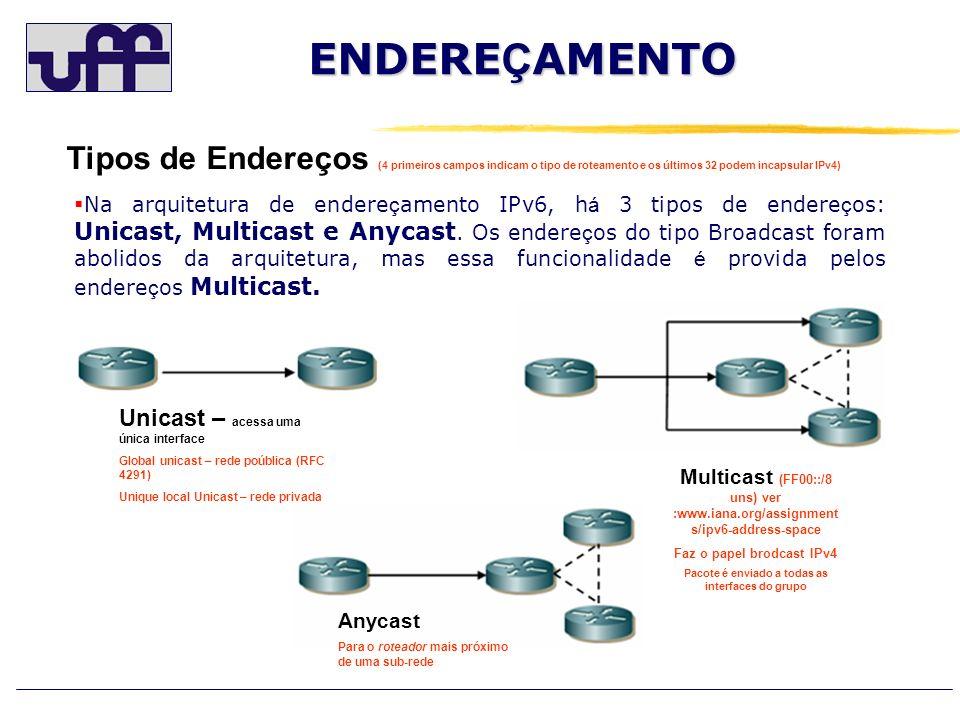 ENDEREÇAMENTO Tipos de Endereços (4 primeiros campos indicam o tipo de roteamento e os últimos 32 podem incapsular IPv4)