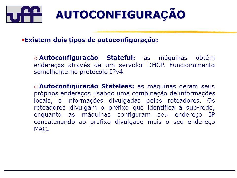 AUTOCONFIGURAÇÃO Existem dois tipos de autoconfiguração: