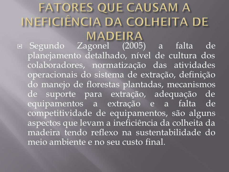 FATORES QUE CAUSAM A INEFICIÊNCIA DA COLHEITA DE MADEIRA