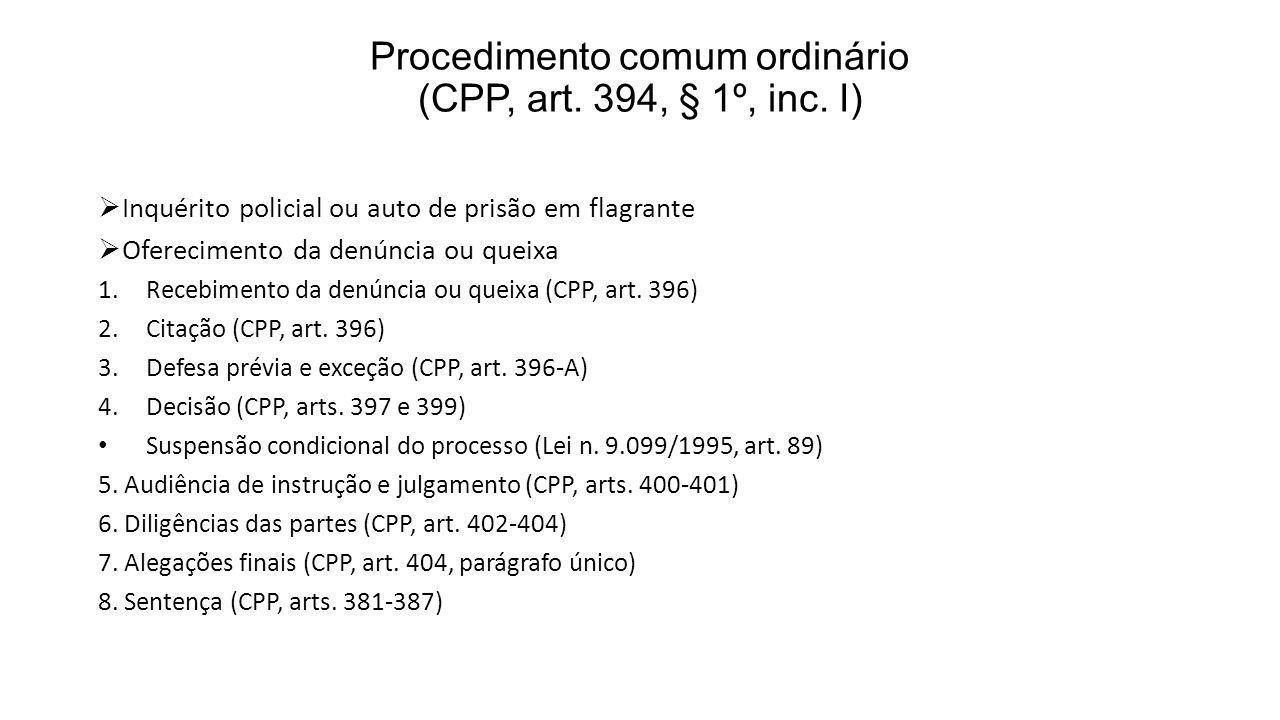 Procedimento comum ordinário (CPP, art. 394, § 1º, inc. I)