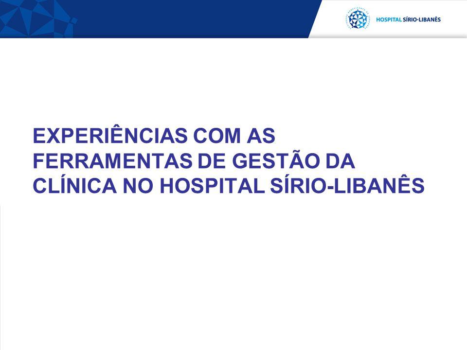 EXPERIÊNCIAS COM AS FERRAMENTAS DE GESTÃO DA CLÍNICA NO HOSPITAL SÍRIO-LIBANÊS
