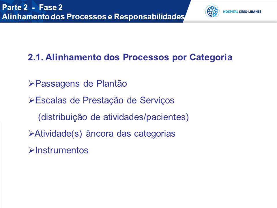 2.1. Alinhamento dos Processos por Categoria Passagens de Plantão