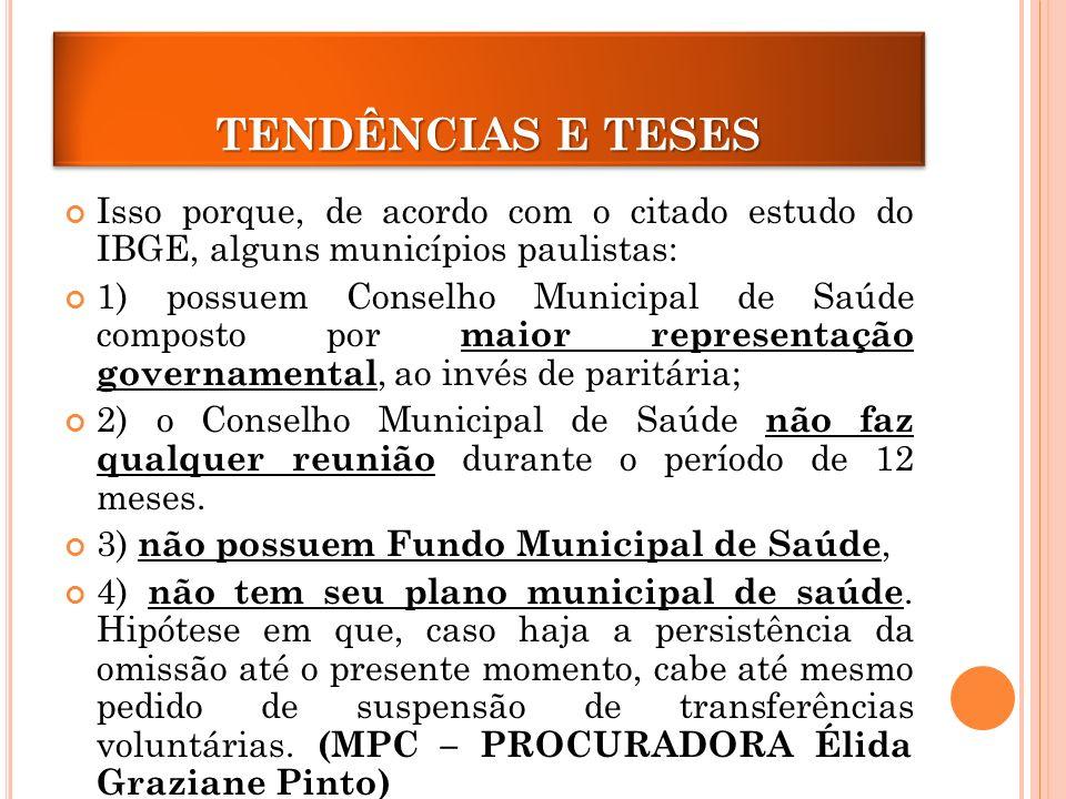 TENDÊNCIAS E TESES Isso porque, de acordo com o citado estudo do IBGE, alguns municípios paulistas: