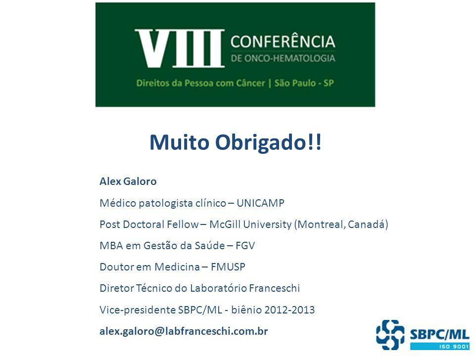 Muito Obrigado!! Alex Galoro Médico patologista clínico – UNICAMP