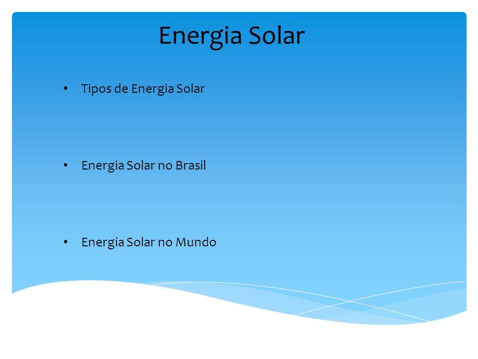 Tipos de Energia Solar Energia Solar no Brasil Energia Solar no Mundo