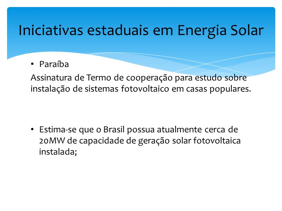 Iniciativas estaduais em Energia Solar