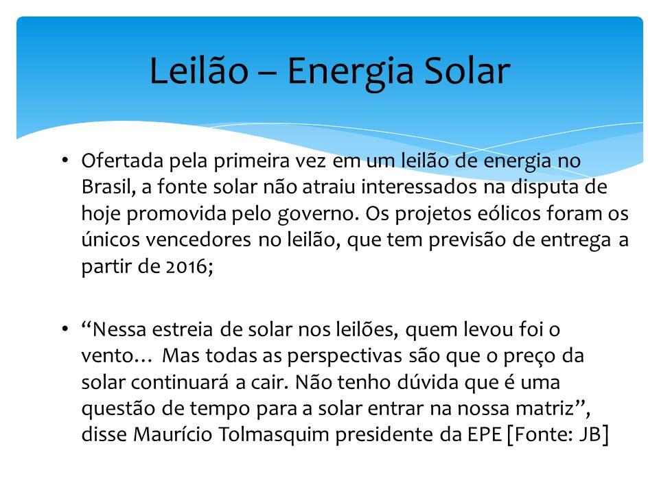 Leilão – Energia Solar