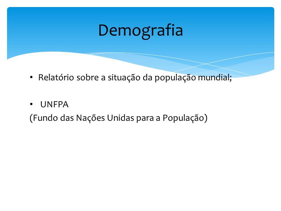 Demografia Relatório sobre a situação da população mundial; UNFPA