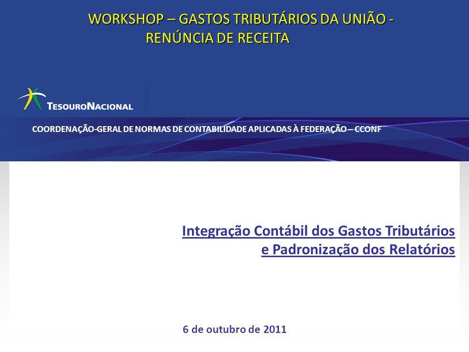 WORKSHOP – GASTOS TRIBUTÁRIOS DA UNIÃO -RENÚNCIA DE RECEITA