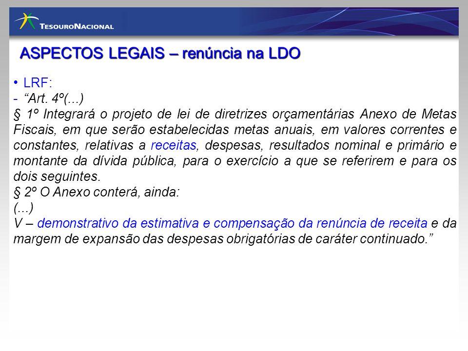 ASPECTOS LEGAIS – renúncia na LDO