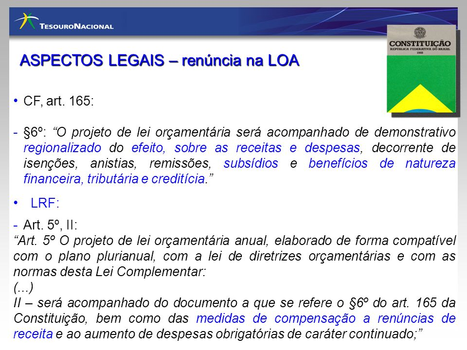 ASPECTOS LEGAIS – renúncia na LOA
