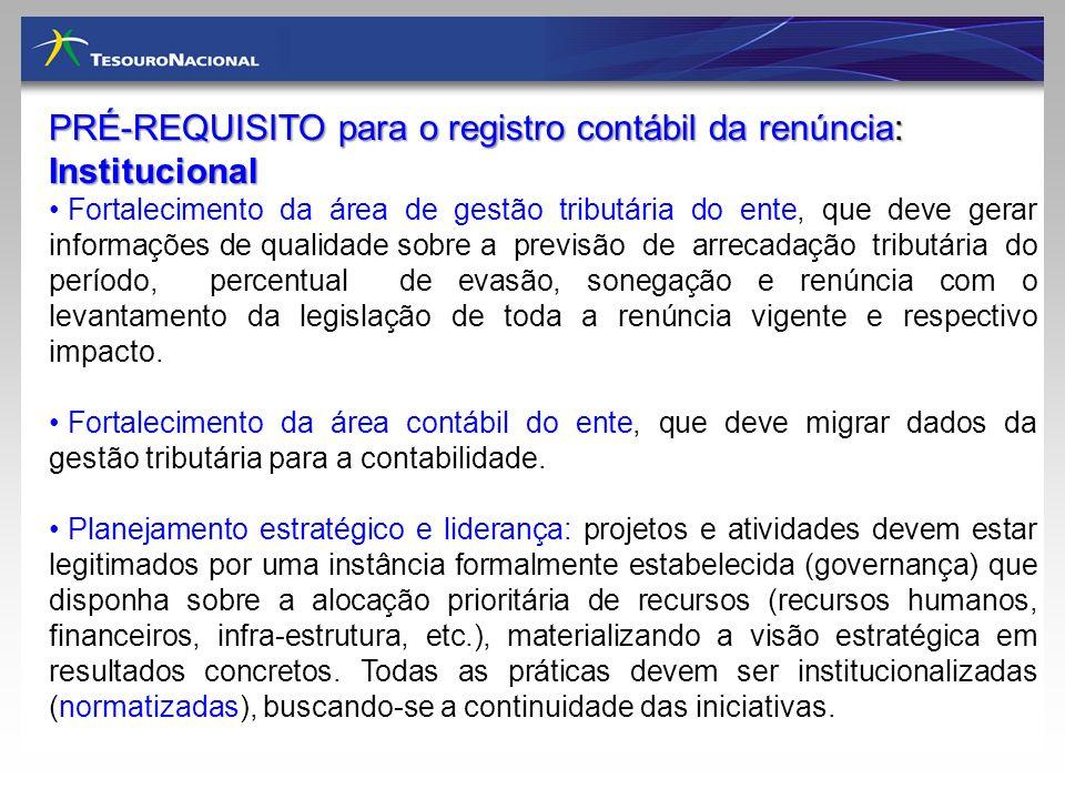 PRÉ-REQUISITO para o registro contábil da renúncia: Institucional