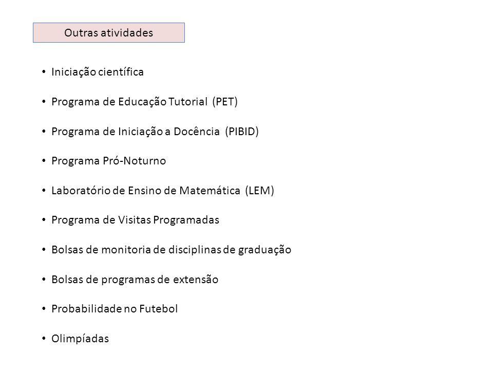 Outras atividades Iniciação científica. Programa de Educação Tutorial (PET) Programa de Iniciação a Docência (PIBID)