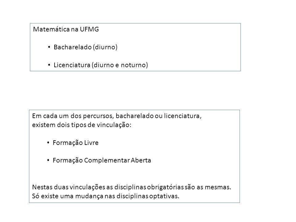 Matemática na UFMG Bacharelado (diurno) Licenciatura (diurno e noturno)